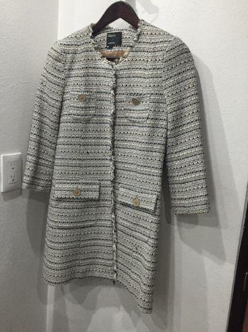 Abrigo tweed beige blanco y azul