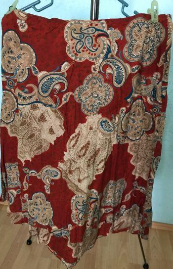#020 Falda larga color ladrillo estampada