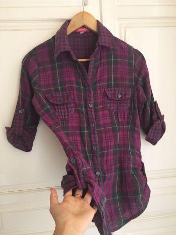 Camisa cuadrada de franela estilo leñador