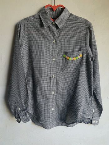 2x1 camisa cuadrada ligera con bordado