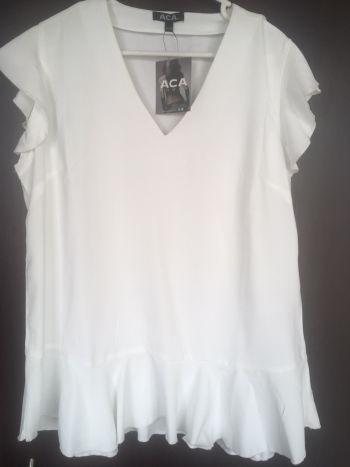 ACA preciosa blusa NUEVA! Blanca Algodon