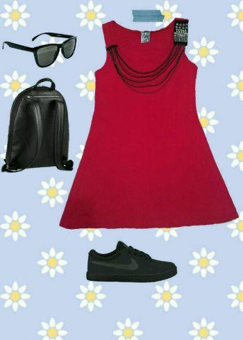 2x1 Vestido rojo con collar integrado