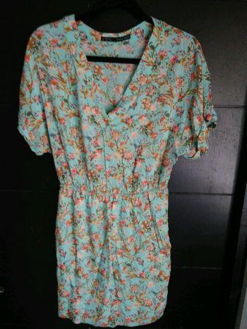 Vestido floral turquesa