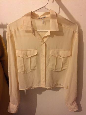 Camisa crop beige