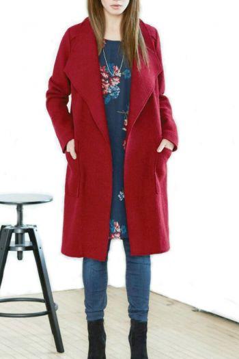 Abrigo de Lana rojo obscuro