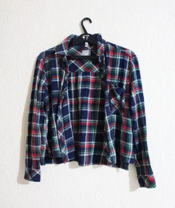 camisa cuadros azul, rojo y verde