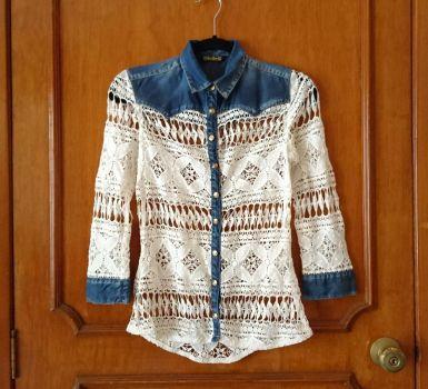 Camisa crochet de mezclilla