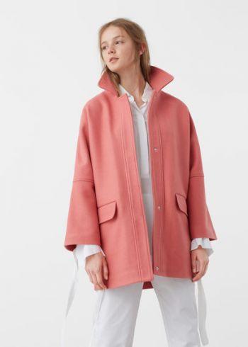 abrigo lana color rosa